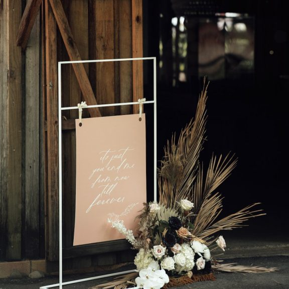 welcome sign at wedding barn reception