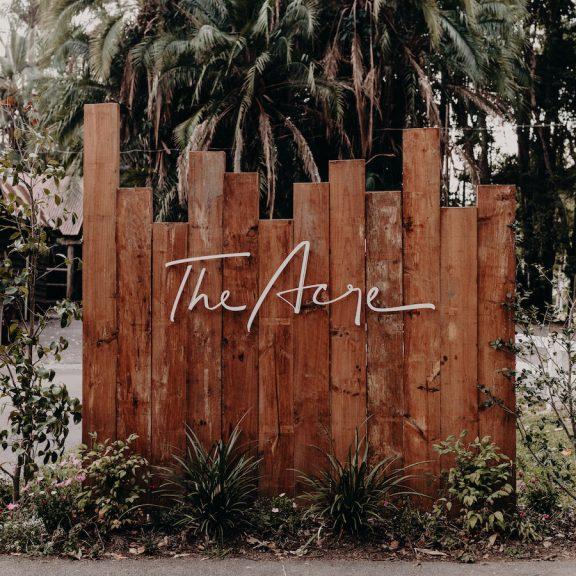 The Acre wedding venue sign