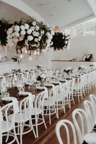 wedding reception hanging flowers