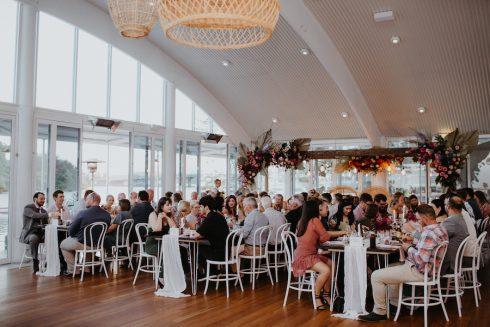 Wedding reception guests at wedding venue