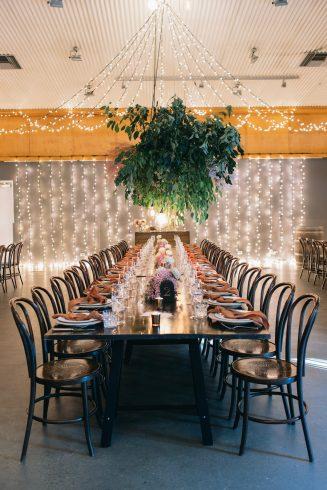 Fairy light lit reception hall