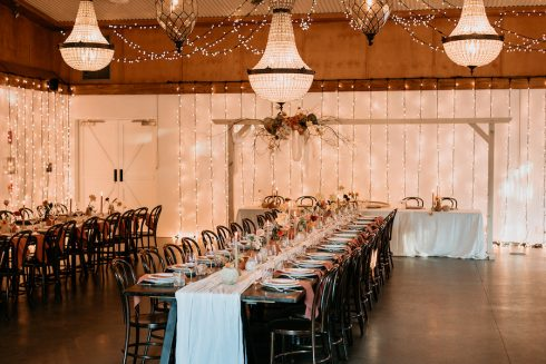 wedding reception fairy lights
