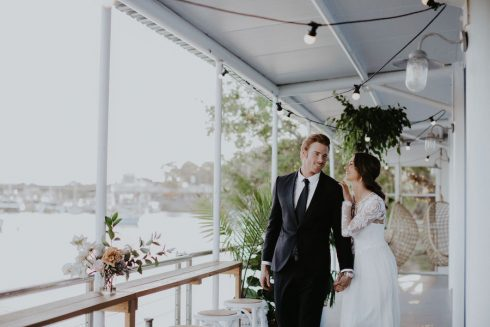 Bride and Groom at waterside wedding venue