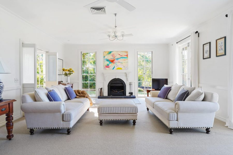 hamptons inspired living room in holiday home